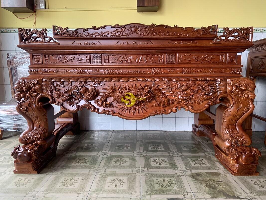 Sập thờ tứ linh gỗ gõ đỏ siêu vip chân 26 SD126 (Ảnh 1)