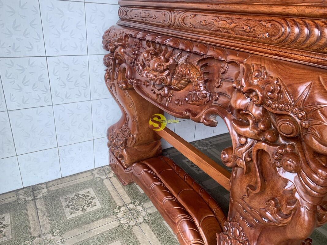 Sập thờ tứ linh gỗ gõ đỏ siêu vip chân 26 SD126 (Ảnh 5)