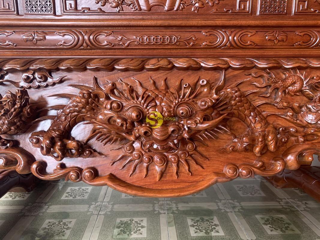 Sập thờ tứ linh gỗ gõ đỏ siêu vip chân 26 SD126 (Ảnh 8)