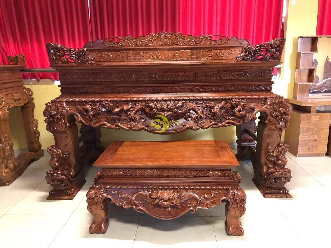 Sập thờ tứ linh gỗ giáng hương Lào xịn siêu Vip SD224 (Ảnh 2)