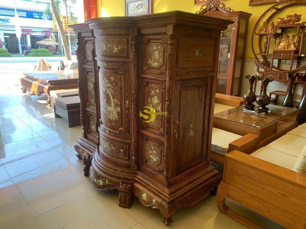 Tủ thờ gỗ cẩm lai cột hoa văn cẩn ốc 1,53m SD480 (Ảnh 5)