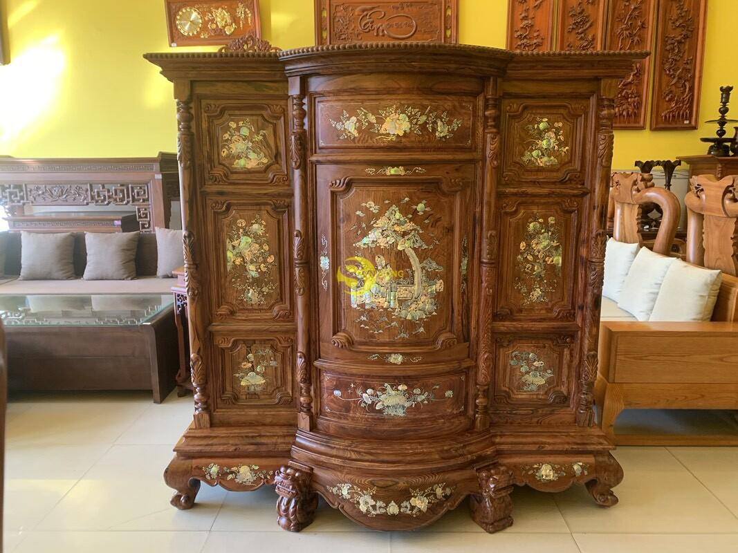 Tủ thờ gỗ cẩm lai cột hoa văn cẩn ốc 1,53m SD480 (Ảnh 4)