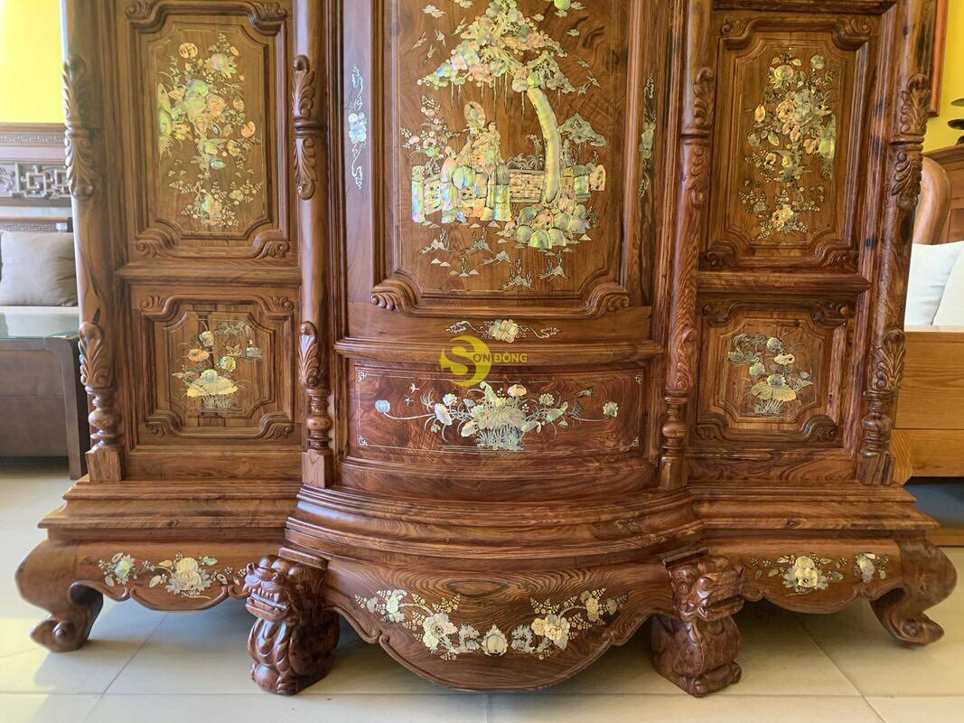Tủ thờ gỗ cẩm lai cột hoa văn cẩn ốc 1,53m SD480 (Ảnh 3)