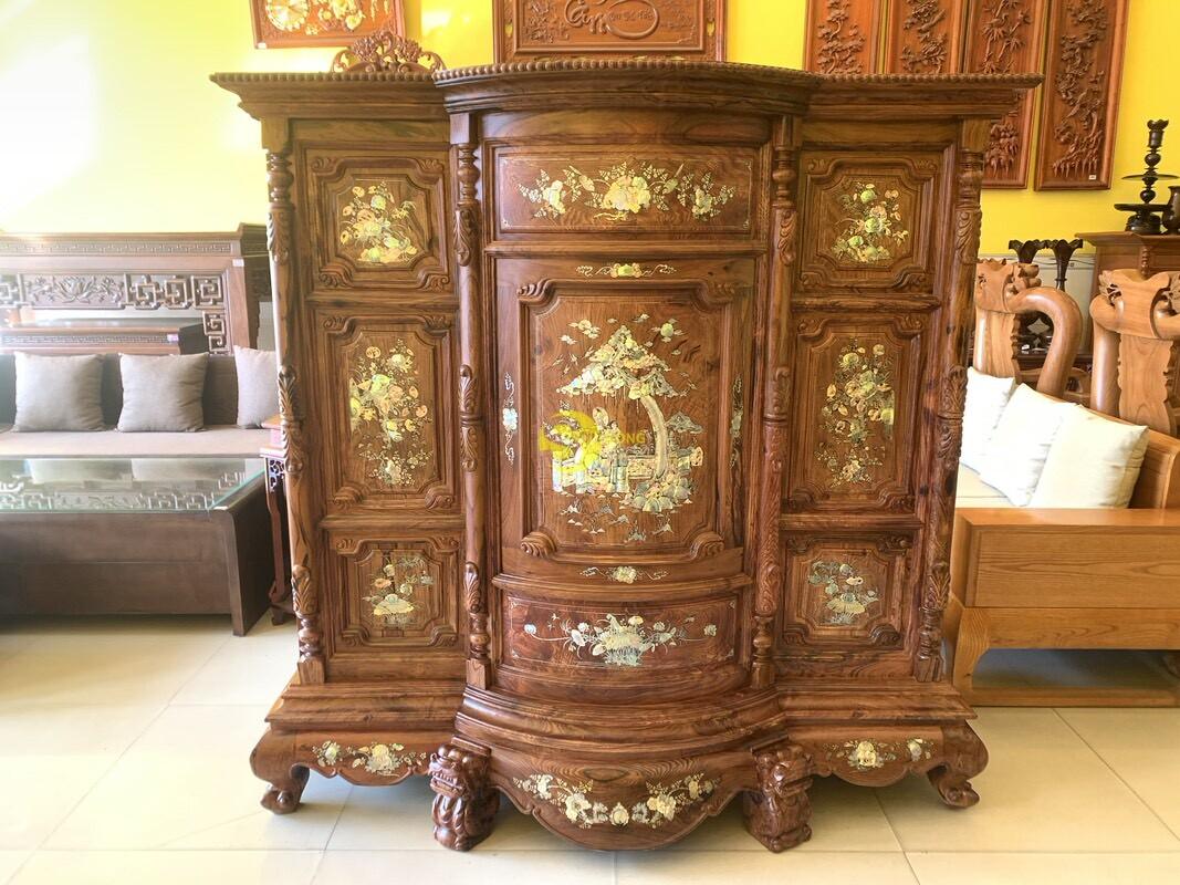 Tủ thờ gỗ cẩm lai cột hoa văn cẩn ốc 1,53m SD480 (Ảnh 2)