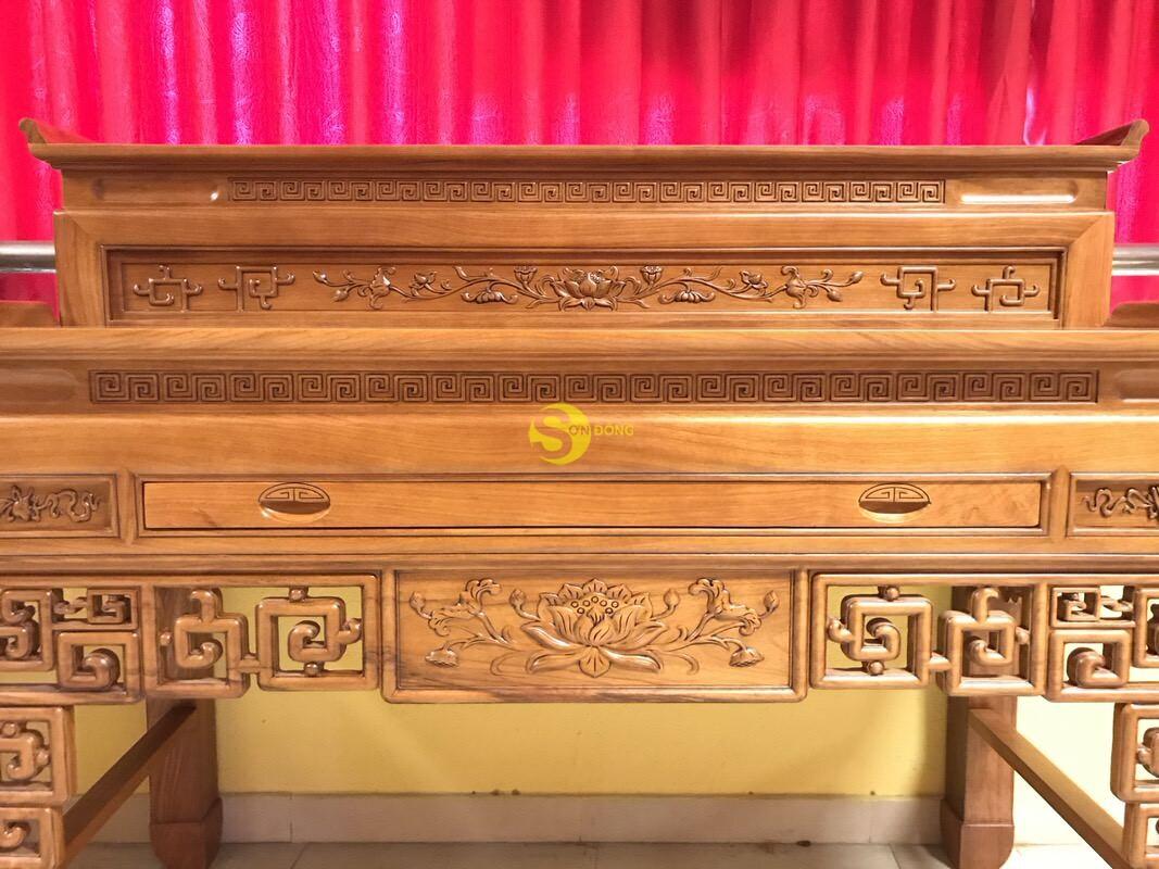 Bàn thờ nhị cấp gõ đỏ chạm sen 1.76m SD534 (Ảnh 5)