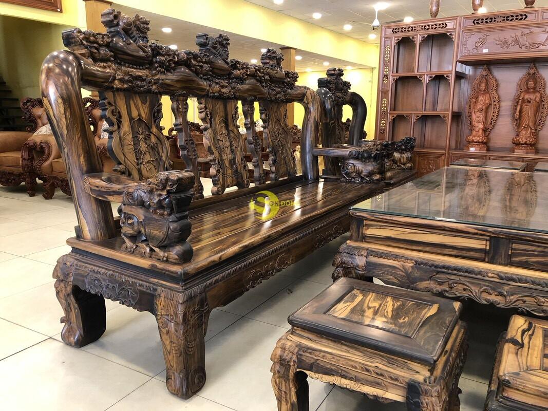 Bộ bàn ghế chạm kỳ lân gỗ mun tay 14 – BBG1501 (Ảnh 6)