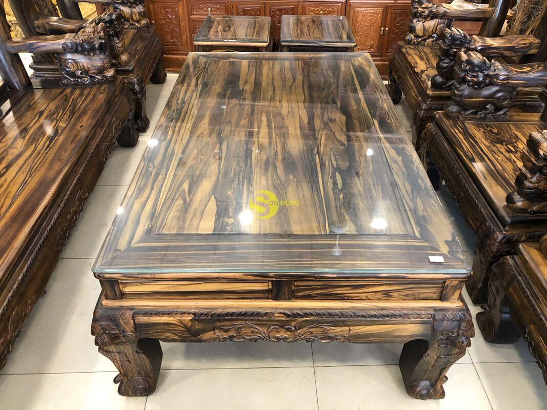 Bộ bàn ghế chạm kỳ lân gỗ mun tay 14 – BBG1501 (Ảnh 4)