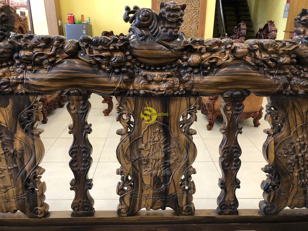 Bộ bàn ghế chạm kỳ lân gỗ mun tay 14 – BBG1501 (Ảnh 2)