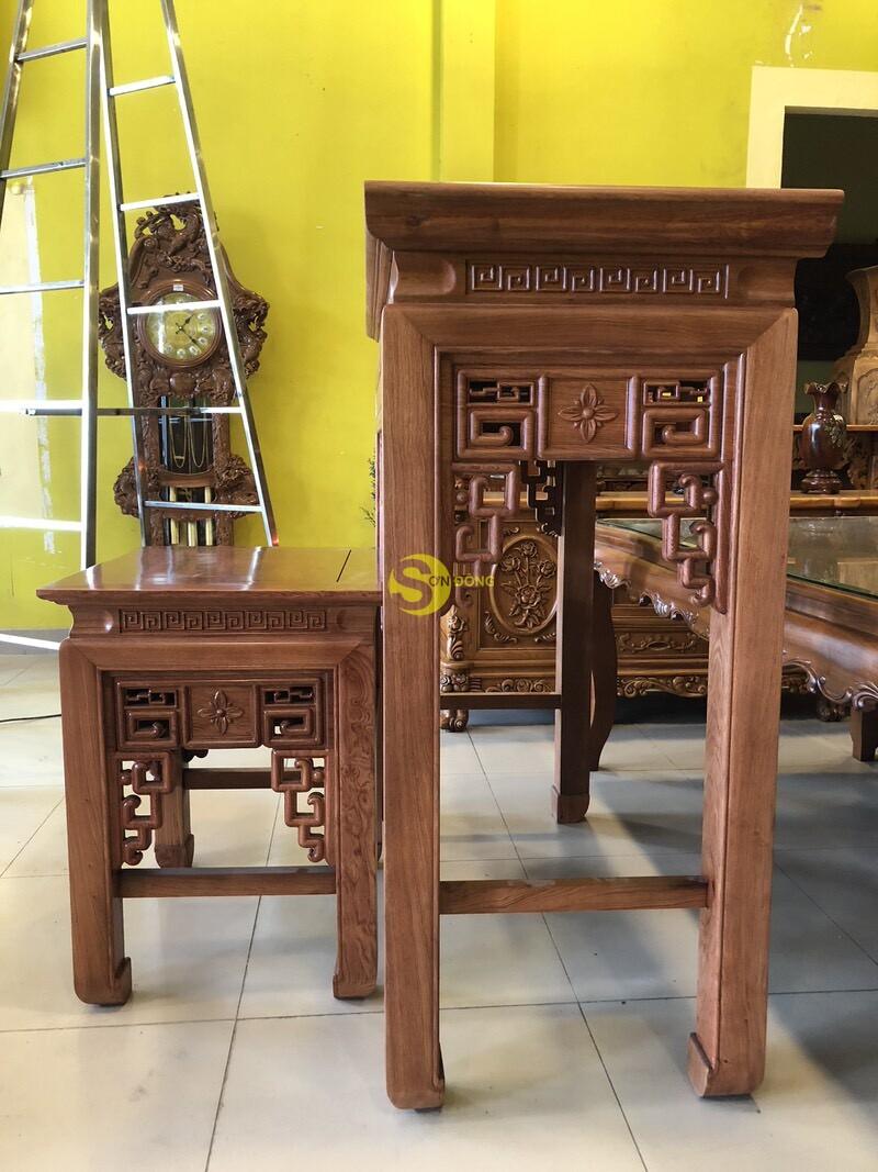 Bộ bàn thờ và bàn cúng hương đá chạm sen 1.27m SD205 (Ảnh 7)
