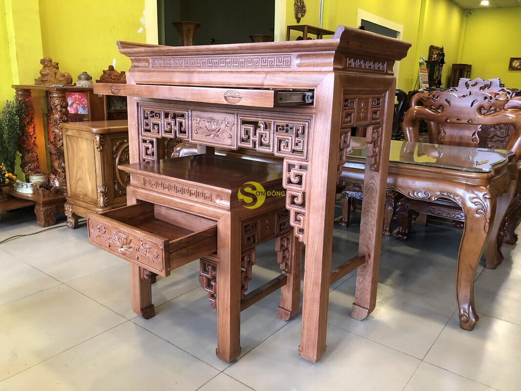 Bộ bàn thờ và bàn cúng hương đá chạm sen 1.27m SD205 (Ảnh 5)