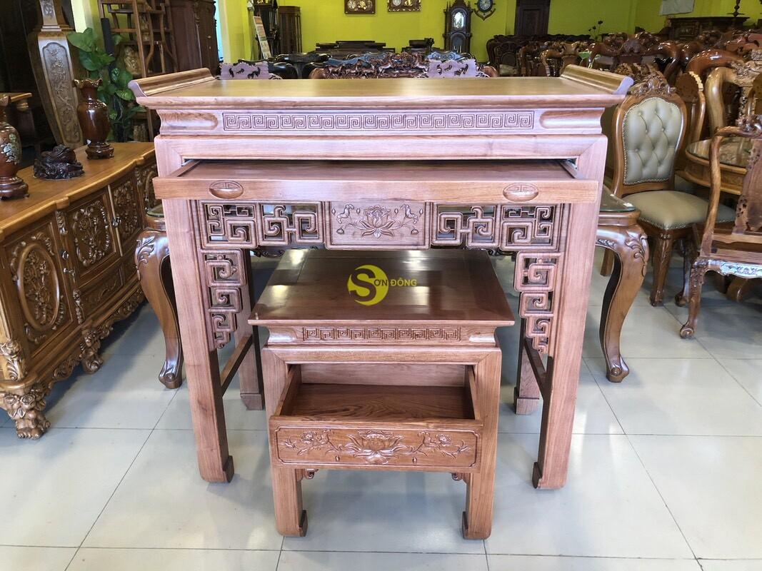 Bộ bàn thờ và bàn cúng hương đá chạm sen 1.27m SD205 (Ảnh 4)