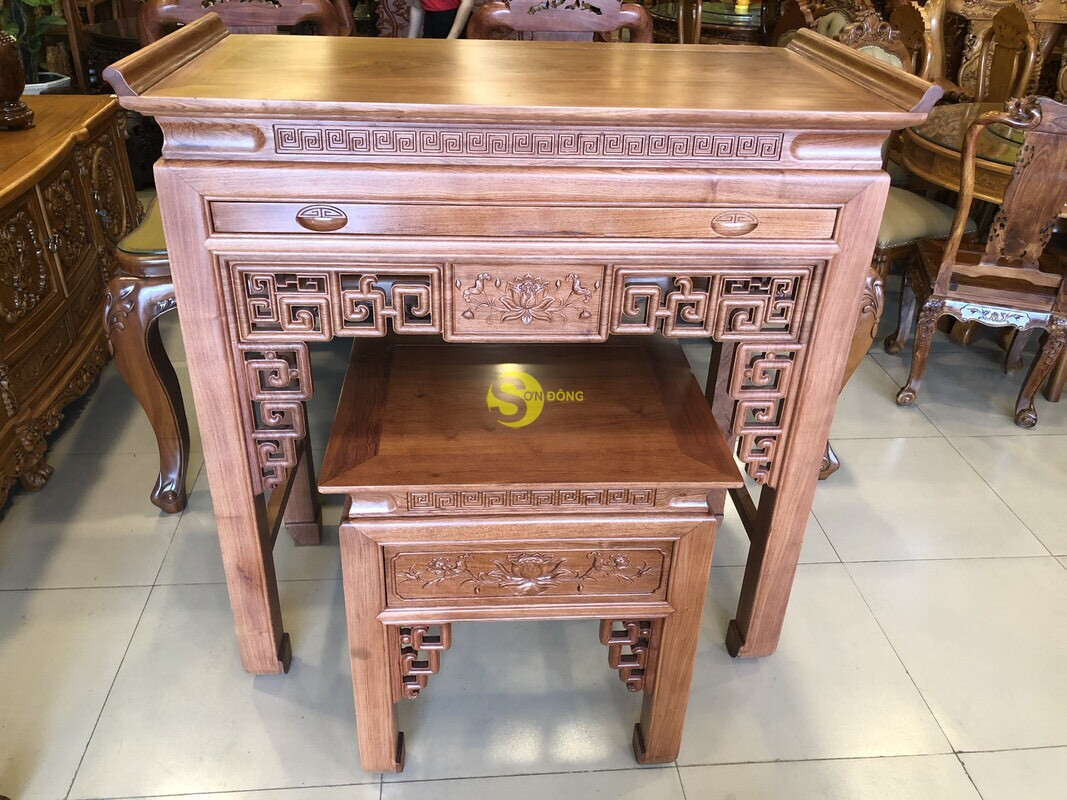Bộ bàn thờ và bàn cúng hương đá chạm sen 1.27m SD205 (Ảnh 3)