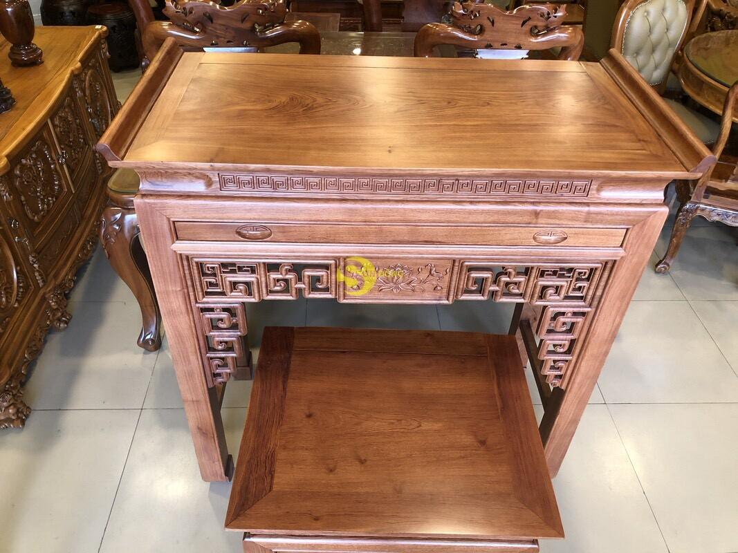 Bộ bàn thờ và bàn cúng hương đá chạm sen 1.27m SD205 (Ảnh 2)