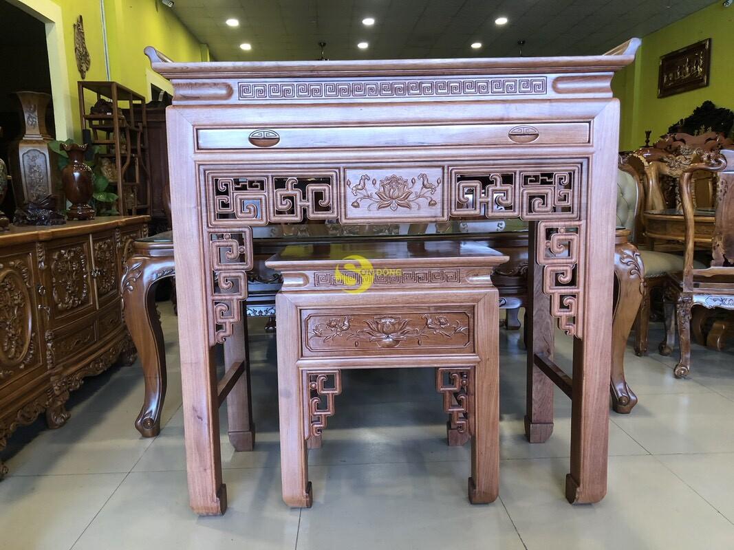 Bộ bàn thờ và bàn cúng hương đá chạm sen 1.27m SD205 (Ảnh 1)