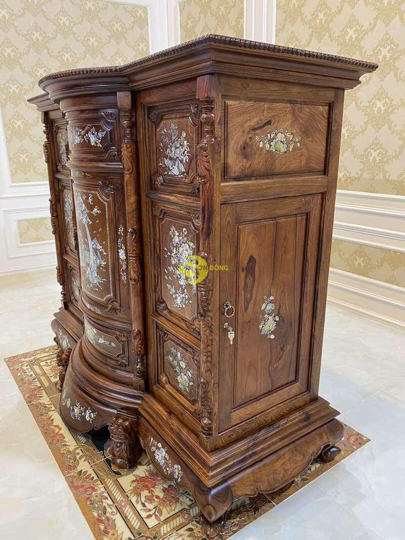 Tủ thờ gỗ cẩm lai cẩn ốc siêu VIP 1,76m SD490 (Ảnh 8)