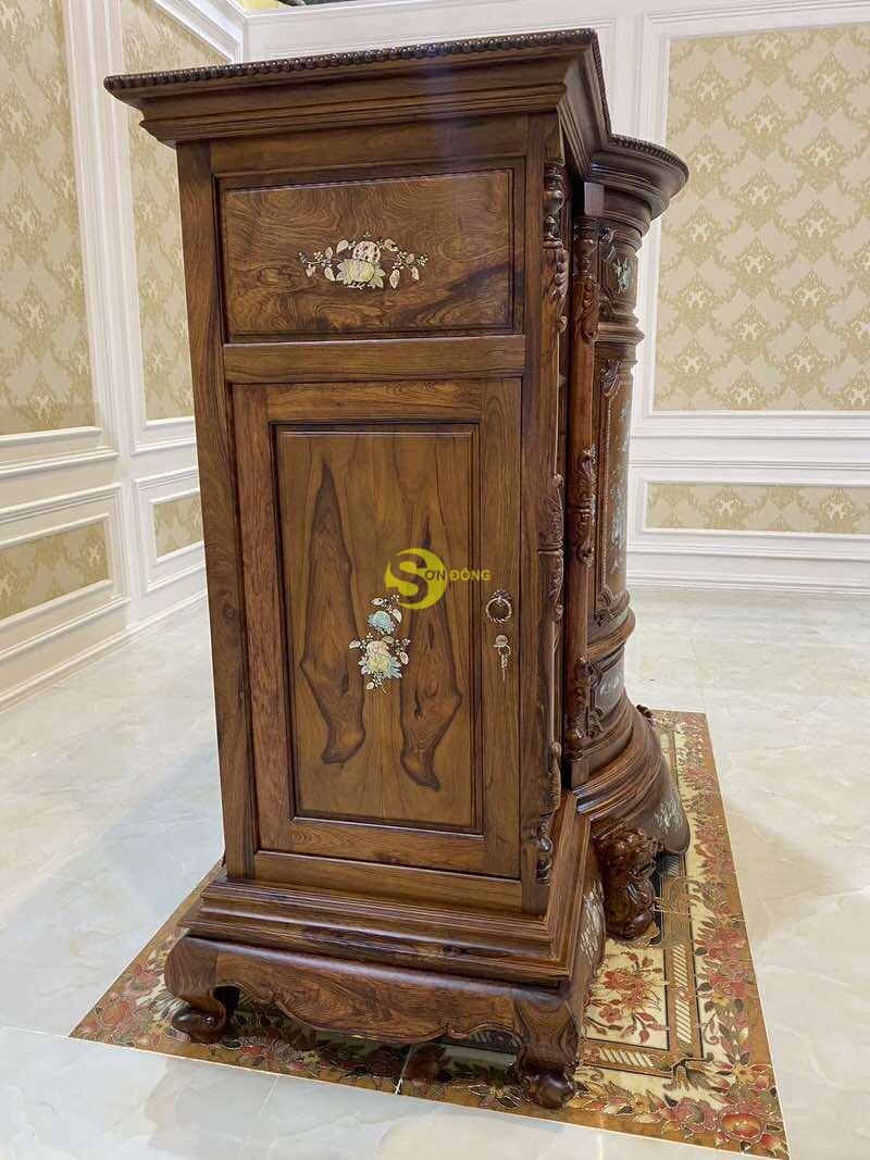 Tủ thờ gỗ cẩm lai cẩn ốc siêu VIP 1,76m SD490 (Ảnh 6)