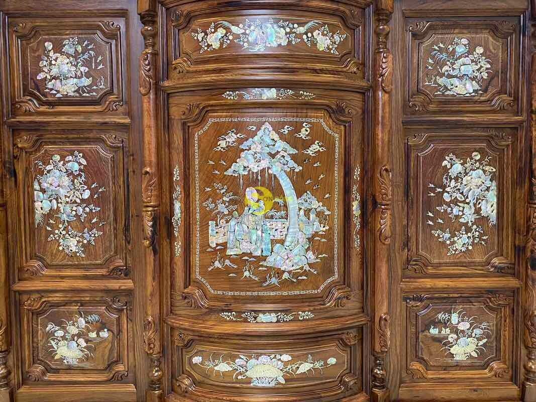 Tủ thờ gỗ cẩm lai cẩn ốc siêu VIP 1,76m SD490 (Ảnh 5)