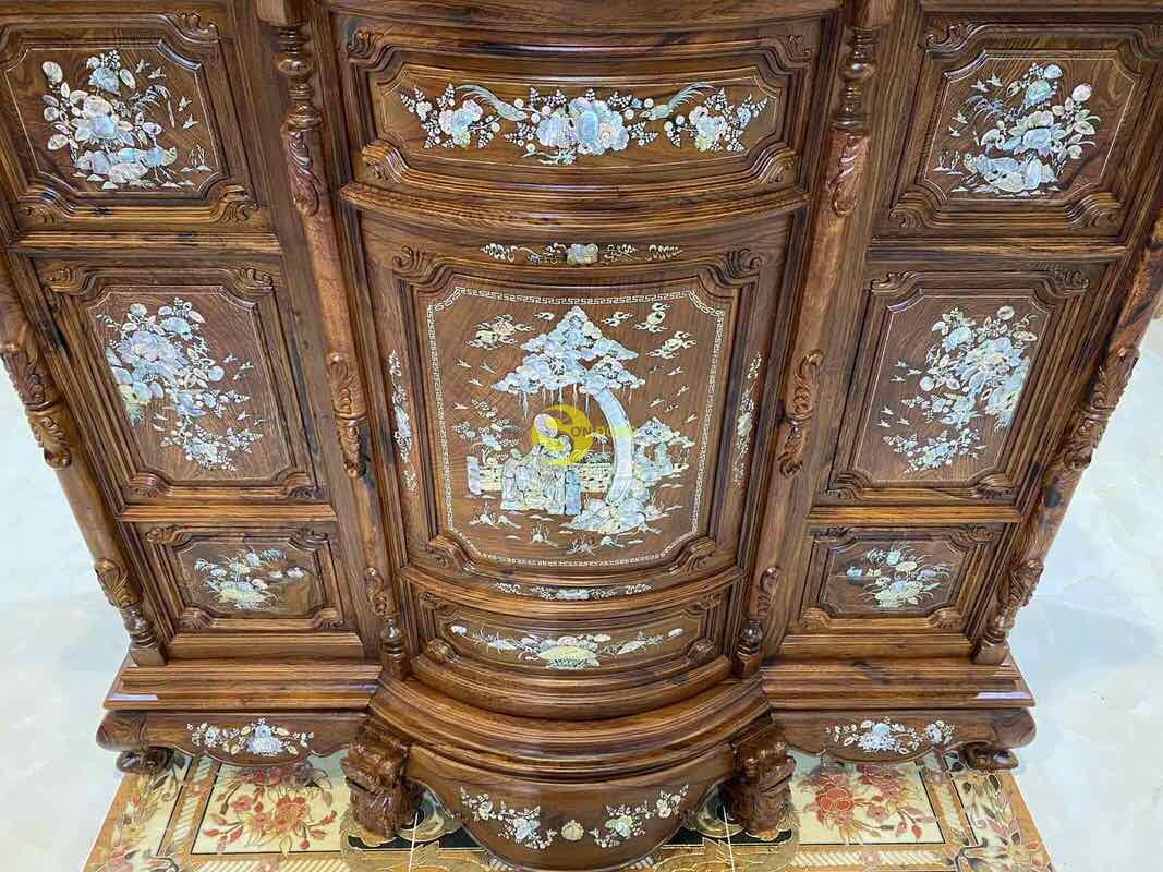 Tủ thờ gỗ cẩm lai cẩn ốc siêu VIP 1,76m SD490 (Ảnh 4)