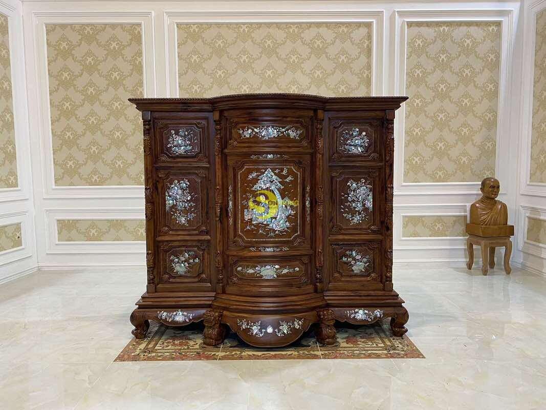 Tủ thờ gỗ cẩm lai cẩn ốc siêu VIP 1,76m SD490 (Ảnh 3)