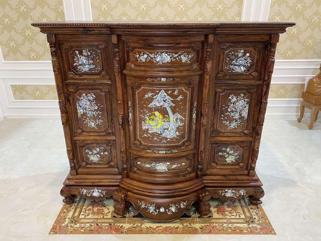 Tủ thờ gỗ cẩm lai cẩn ốc siêu VIP 1,76m SD490 (Ảnh 2)