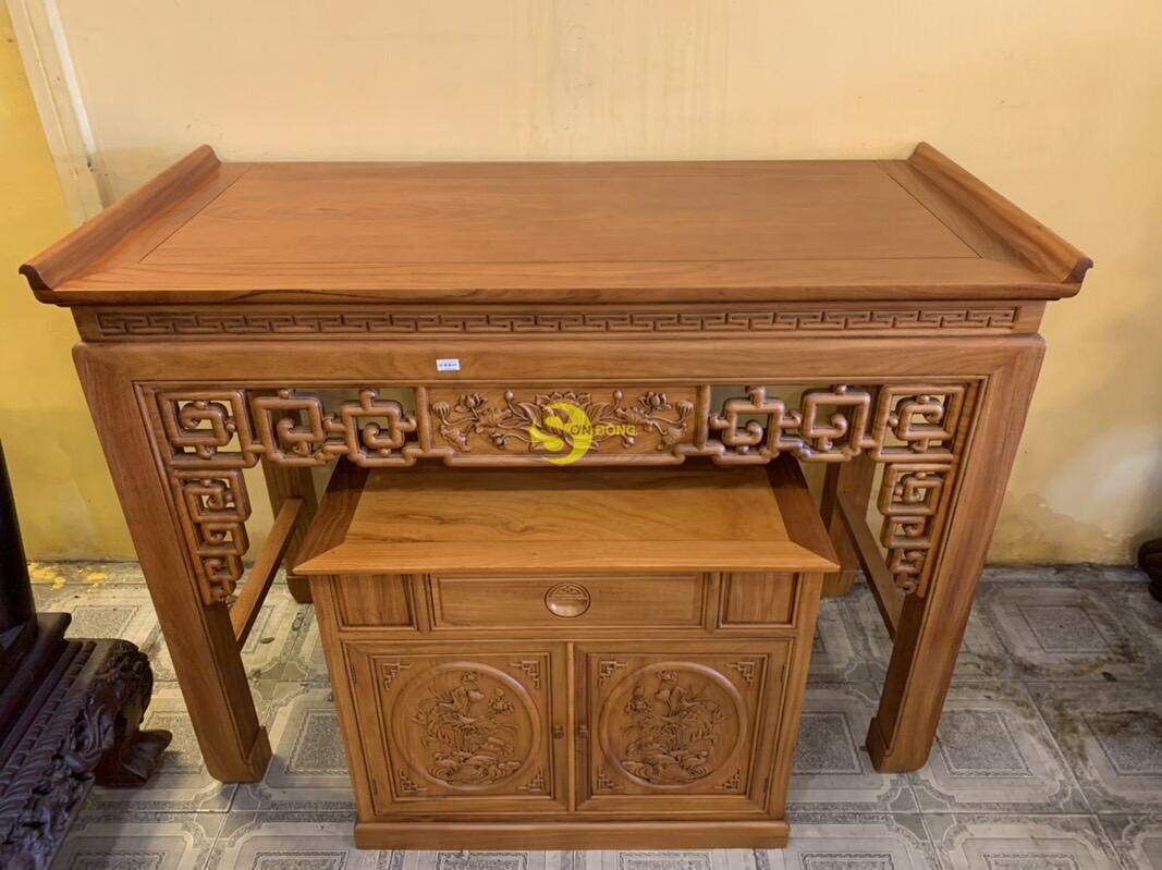 Bộ bàn thờ và tủ nhang gõ đỏ triện hoa sen 1,76m SD106 (Ảnh 5)