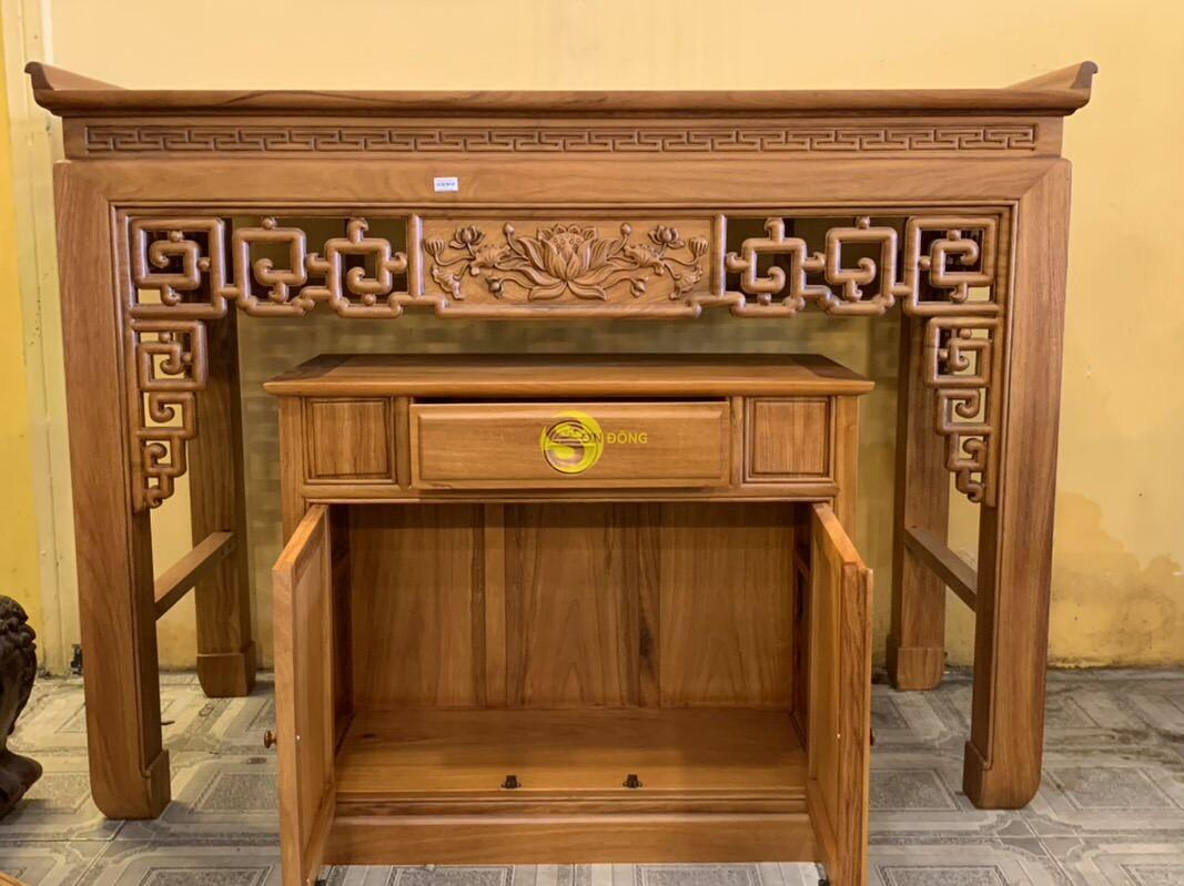 Bộ bàn thờ và tủ nhang gõ đỏ triện hoa sen 1,76m SD106 (Ảnh 4)
