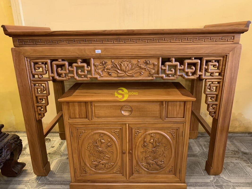 Bộ bàn thờ và tủ nhang gõ đỏ triện hoa sen 1,76m SD106 (Ảnh 3)