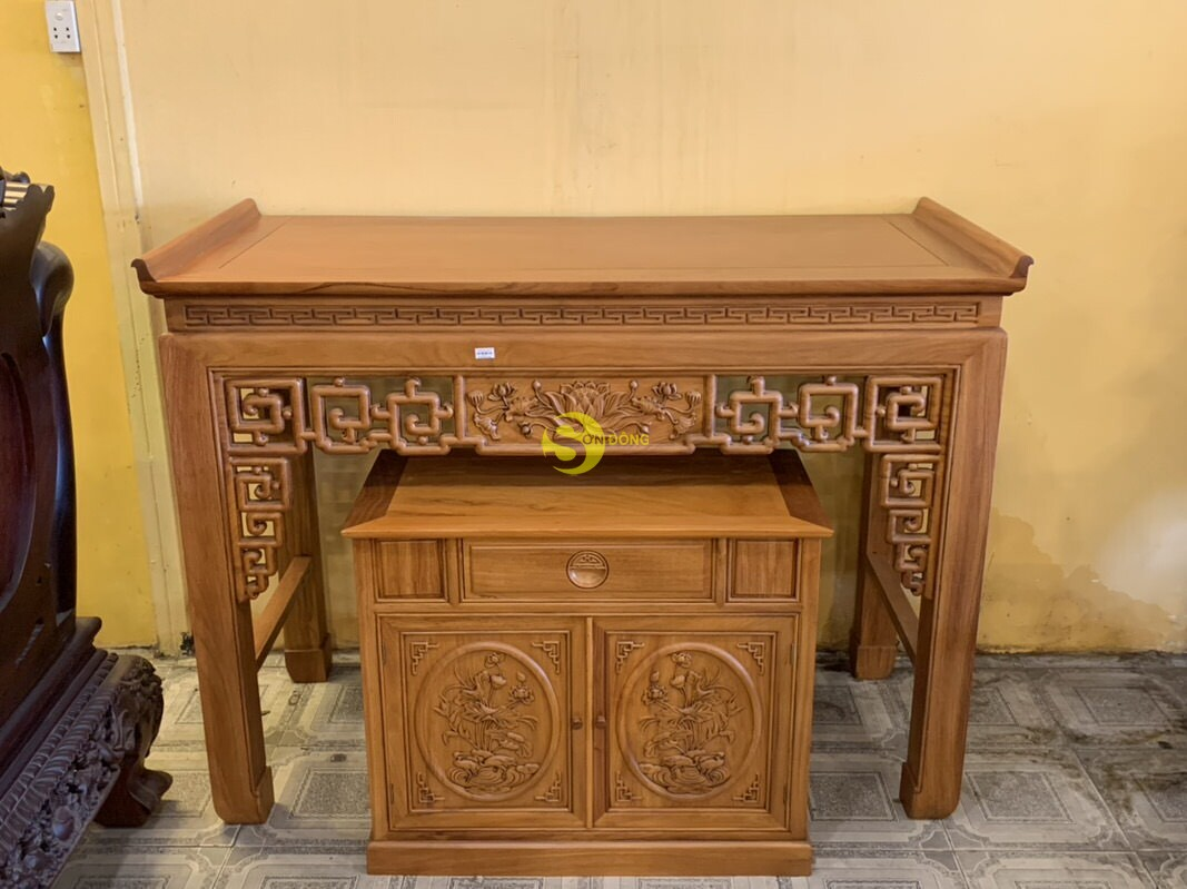 Bộ bàn thờ và tủ nhang gõ đỏ triện hoa sen 1,76m SD106 (Ảnh 2)