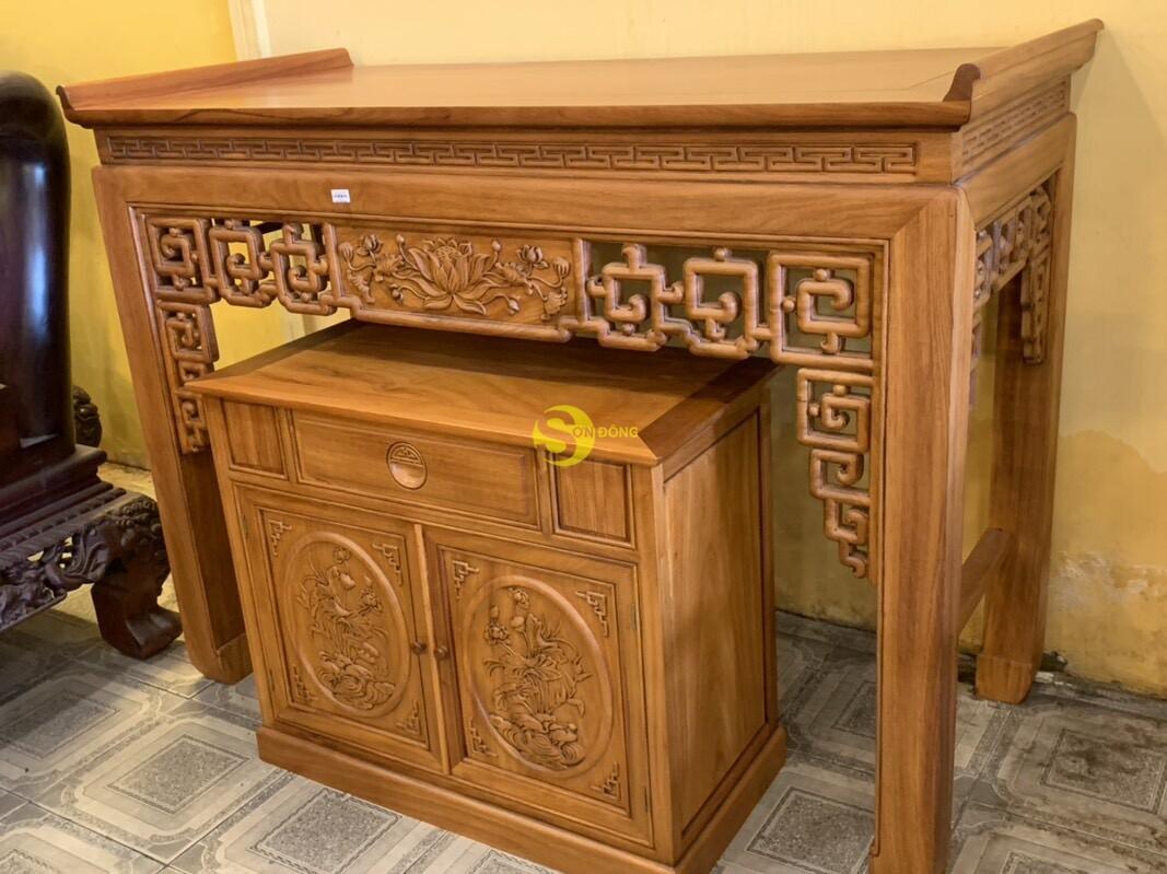 Bộ bàn thờ và tủ nhang gõ đỏ triện hoa sen 1,76m SD106 (Ảnh 1)
